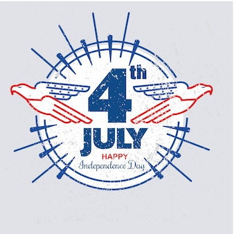 Giorno dell'indipendenza degli stati uniti con aquila modello rotondo in stile grunge o vintage