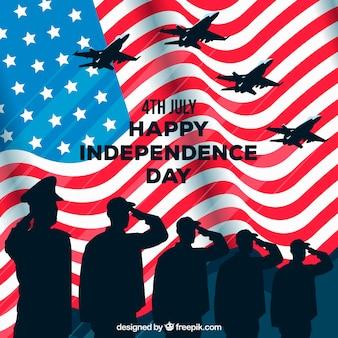 Giorno dell'indipendenza del 4 luglio sfondo in stile piatto