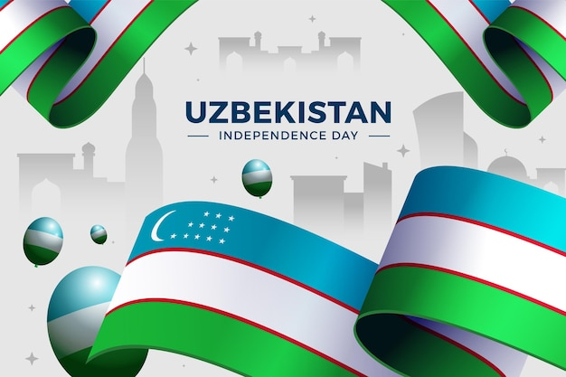 Giorno dell'indipendenza dell'uzbekistan con bandiera