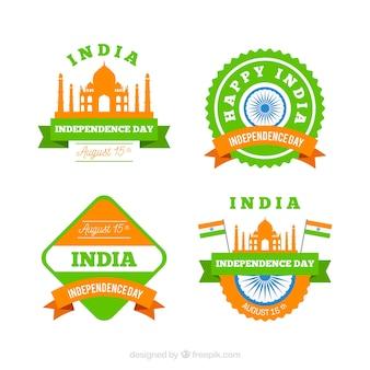 Giorno dell'indipendenza della collezione di badge india con design piatto