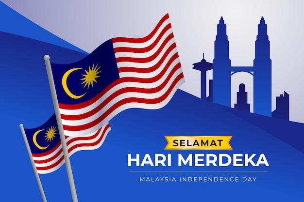 Giorno dell'indipendenza della malesia con le bandiere