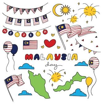 Giorno dell'indipendenza della malesia elemento di design in stile doodle