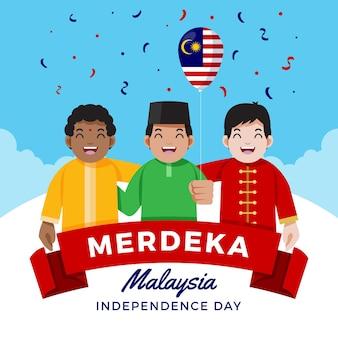 Giorno dell'indipendenza della malesia illustrato