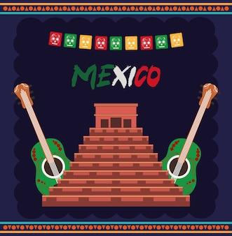 Giorno dell'indipendenza messicana, antica piramide maya e chitarre, celebrata nell'illustrazione di settembre