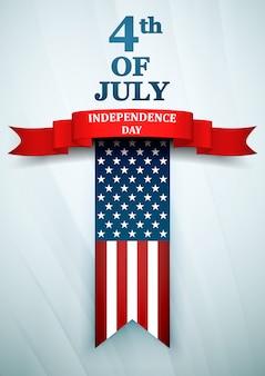 Giorno dell'indipendenza usa. 4 luglio con la bandiera nazionale americana.