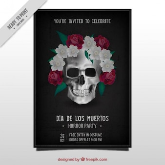 Giorno della brochure morti del cranio messicano