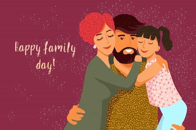 Giorno della famiglia. simpatico cartone animato piatto padre, madre e figlia con testo. orizzontale