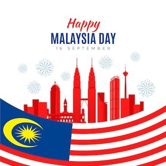 Giorno della malesia con bandiera e skyline