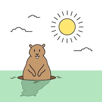 Giorno della marmotta animale wake up spring holiday