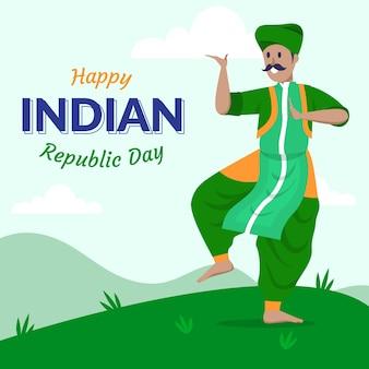 Giorno della repubblica indiana di disegno a mano