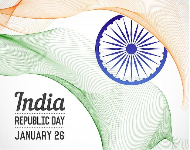 Giorno della repubblica nazionale dell'india paese in linee di fusione stile vettoriale con data