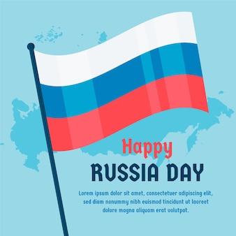 Giorno della russia con bandiera e mappa