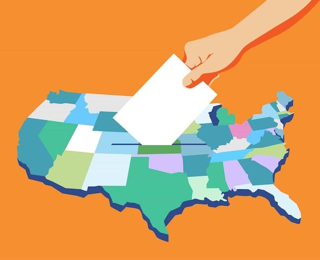 Giorno delle elezioni in america, mano che tiene la scheda elettorale, voto, mappa americana sullo sfondo.