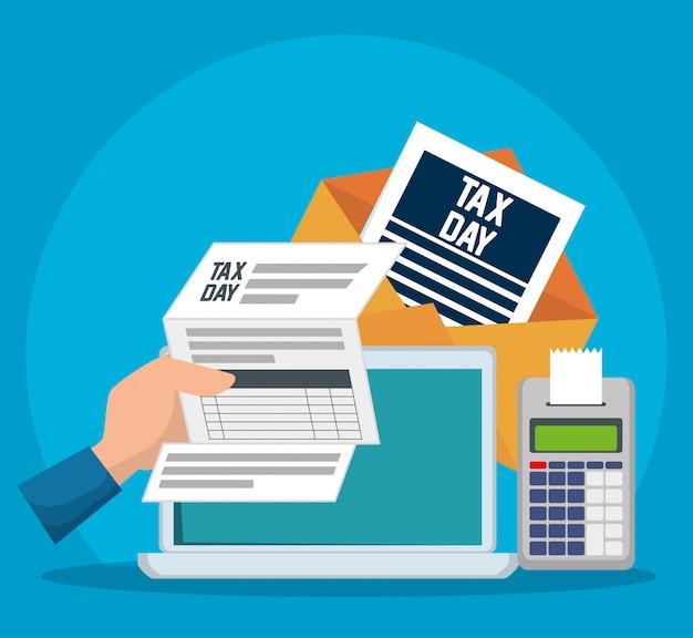 Giorno delle tasse. documento fiscale di servizio con dataphone e laptop