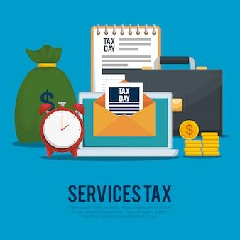 Giorno delle tasse. imposta sulle finanze di servizio con valigetta e monete