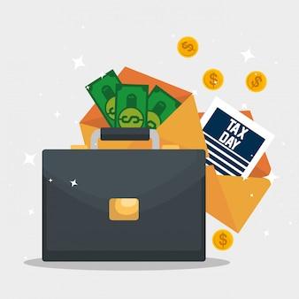Giorno delle tasse. rapporto fiscale di servizio con valigetta e bollette