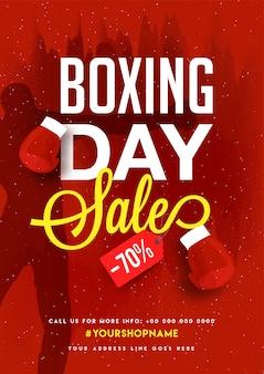 Giorno di inscatolamento, vendita di striscioni, poster o design flyer con offerta di sconto.