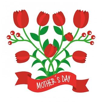 Giorno di madri di nastro fiori decorativi rosso tulipano