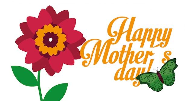 Giorno di madri felice della bandiera della farfalla del fiore rosso