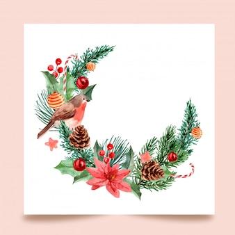 Giorno di natale, pittura ad acquerello per biglietto di auguri, cartolina, poster