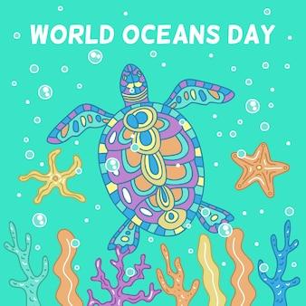 Giorno di oceani disegnato a mano colorato tartaruga