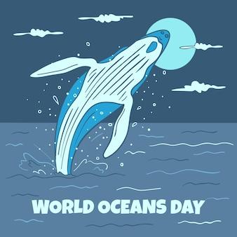 Giorno di oceani disegnato a mano di salto della balena