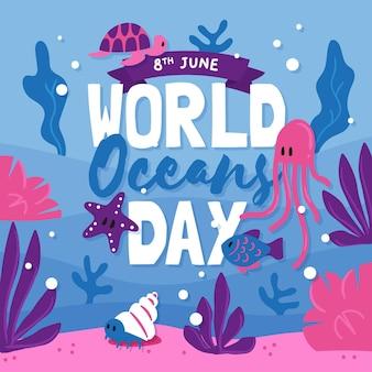 Giorno di oceani disegnato a mano divertente della tartaruga e delle meduse