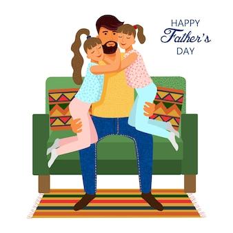 Giorno di padri felice, padre sveglio sveglio del fumetto e figlie sul sofà isolato su bianco