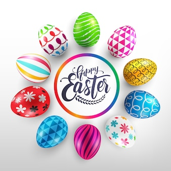 Giorno di pasqua con uova di pasqua colorate colorate e nastro.