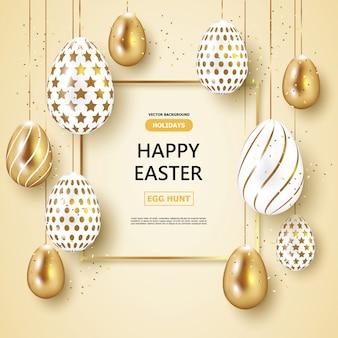 Giorno di pasqua di festa, oro e fondo bianco delle uova di pasqua.