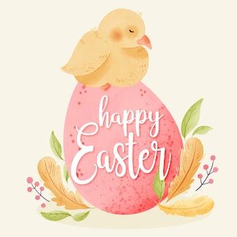 Giorno di pasqua felice dell'acquerello con il pollo sull'uovo