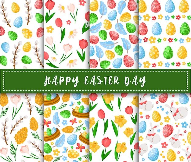Giorno di pasqua - modello senza cuciture con le uova di pasqua, i fiori della molla, i salici, le piume su fondo bianco