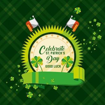 Giorno di san patrizio con badge e bandiere irlandesi