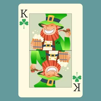 Giorno di san patrizio del leprechaun di re verde della carta da gioco