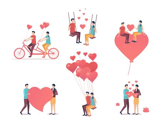 Giorno di san valentino. raccolta delle persone innamorate.