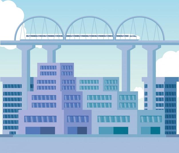 Giorno di scena delle costruzioni di paesaggio urbano con il ponte