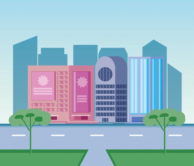 Giorno di scena delle costruzioni di paesaggio urbano con la strada