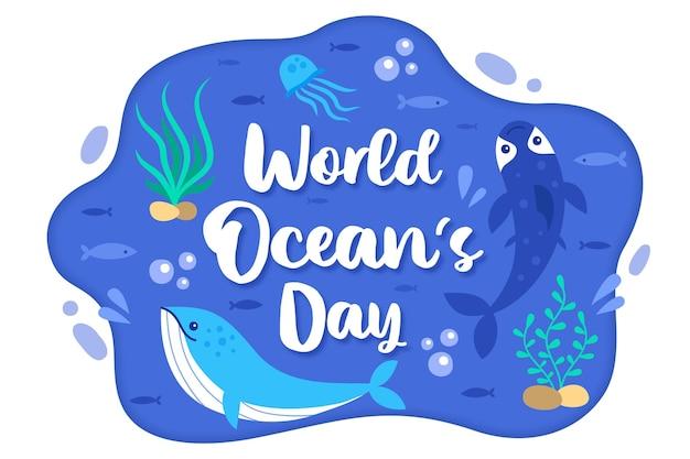 Giorno disegnato a mano degli oceani delle creature e delle piante