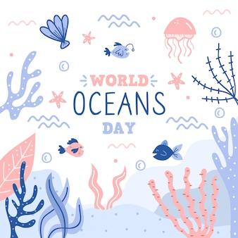 Giorno disegnato a mano degli oceani di vita subacquea di armonia
