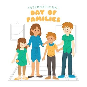 Giorno disegnato a mano stile di famiglie