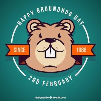 Giorno divertente distintivo marmotta