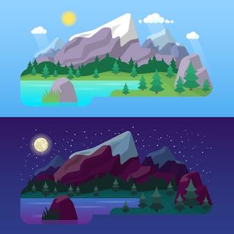 Giorno e notte del paesaggio della montagna della natura con la foresta e il lago verdi. sfondo