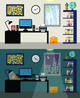 Giorno e notte del posto di lavoro dell'ufficio vuoto con il computer della tavola del lavoro e l'illustrazione di vettore dello scaffale per libri