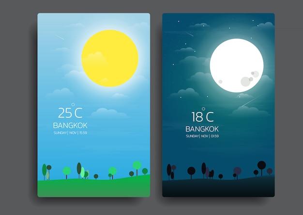 Giorno e notte paesaggio naturale.