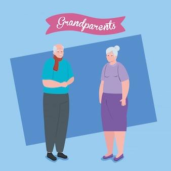 Giorno felice dei nonni con progettazione sveglia dell'illustrazione delle coppie più anziane