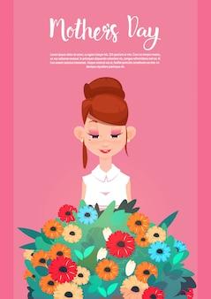Giorno felice della madre, insegna della cartolina d'auguri di festa della primavera del mazzo dei fiori della stretta della tenuta della donna