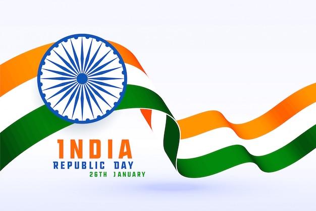 Giorno felice della repubblica della bandiera dell'india 3d