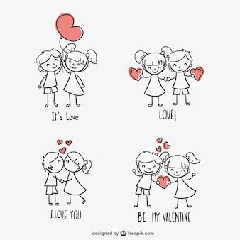 Giorno graziosi bambini di san valentino