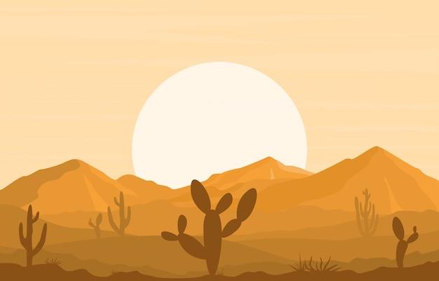 Giorno in vasto deserto rock hill mountain con l'illustrazione del paesaggio di orizzonte del cactus