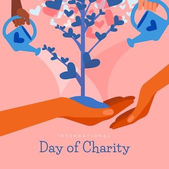 Giorno internazionale di fondo disegnato a mano di carità con l'albero